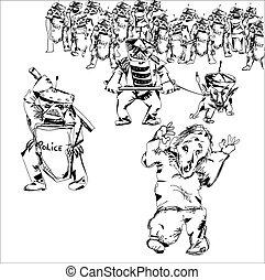 警察, protesters