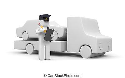 警察, towing, 士官, 自動車