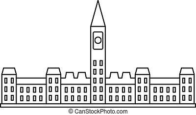 議会の 建物, 中に, オタワ, アイコン, アウトライン, スタイル