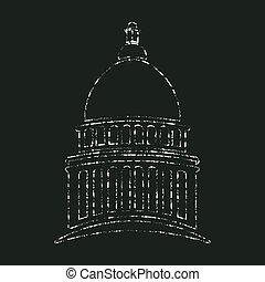 議会, 国会議事堂, 中に, チョーク, design., ベクトル, グラフィック