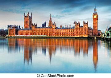 議會的房子, -, 大本鐘, england, 英國