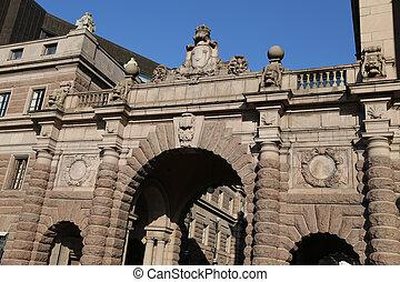 議會, 房子, 在, gamla stan, 斯德哥爾摩, 瑞典