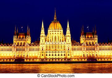 議會, ......的, 布達佩斯, 匈牙利, 夜間