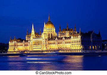 議會, ......的, 布達佩斯, 夜間, 匈牙利