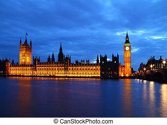 議會,  Ben, 房子,  thames, 大, 河