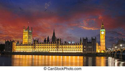 議會,  Ben, 黃昏, 房子,  -, 國際, 倫敦, 英國, 大, 界標, 英國, 河,  thames
