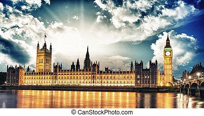 議會,  Ben,  la, 房子,  thames, 大, 國際, 河