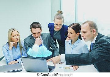 議論, ラップトップ, 持つこと, ビジネス チーム