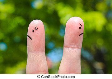議論, 見る, 指, カップル。, 別, 恋人, 後で, 芸術, directions.