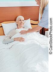 護士, 以及, 年長者, 病人
