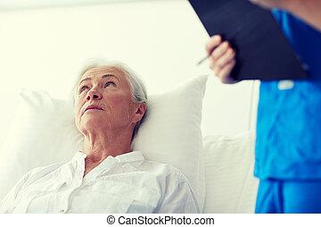 護士, 以及, 高級婦女, 病人, 在, 醫院