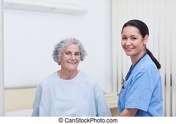 護士, 協助, a, 病人