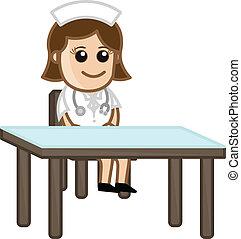 護士, 在, 門診部, -, 醫學, 卡通
