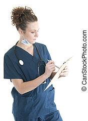 護士, 寫, 上, a, 剪貼板