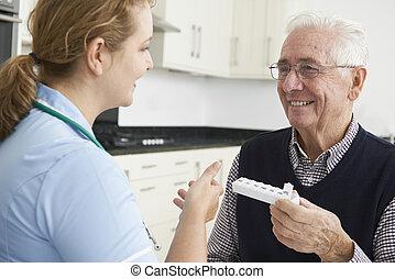 護士, 幫助, 高階人, 由于, 藥物處理
