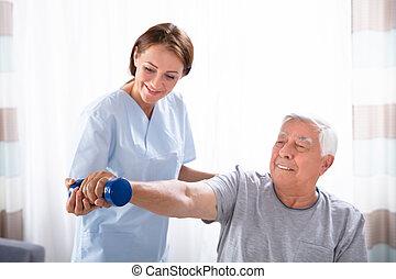 護士, 幫助, 高階人, 由于, dumbbell, 練習