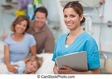 護士, 拿著  剪貼板, 在旁邊, a, 家庭