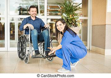 護士, 拿, 病人, 為, a, 散步