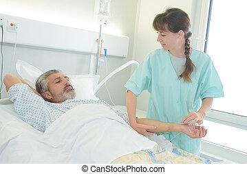 護士, 檢查, 上, a, 病人