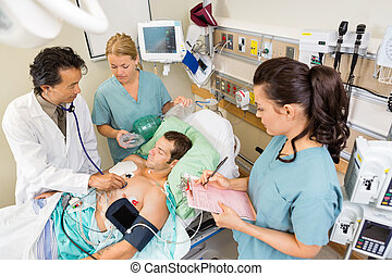 護士, 檢查, 醫院, 病人, 醫生