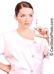 護士, 看, 容納一個注射器