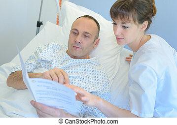 護士, 耗盡, 結果, 到, a, 中年, 病人