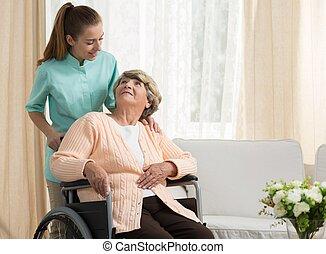 護士, 討論, 由于, 年長, 病人