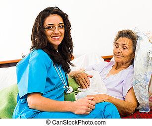 護士, 關懷, 年長, 病人