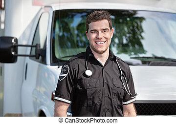 護理人員, 人站, 近, 救護車