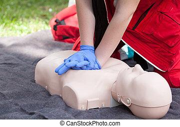 護理人員, 論證, cardiopulmonary 复活, (cpr), 上, 奶嘴