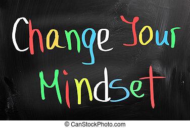 變化, 你, mindset, 概念