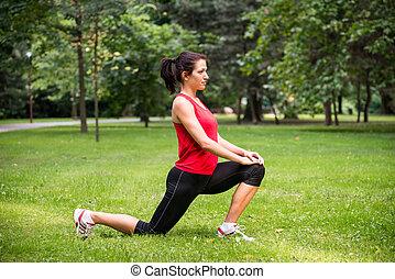 變暖向上, 練習, -, 運動婦女