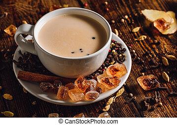 變暖和, masala, chai, 由于, 香料