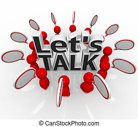 讓我們, 談話, 人們, 組, 在, 環繞, 討論, 在, 演說, 云霧