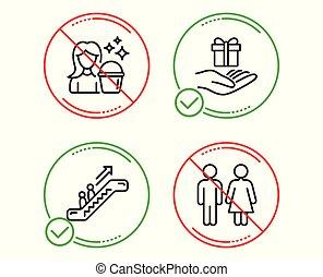 计划, 自动楼梯, wc, 图标, set., 服务, gift., 忠心, 少女, 矢量, 打扫, 电梯, restroom, toilet., 标志。