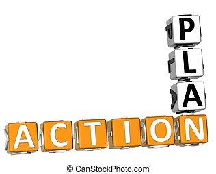 计划, 行动, 背景, 拼字游戏, 3d, 白色
