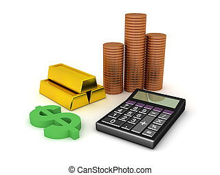 计算器, 现金, 黄金酒吧间, 提供, 3d, 硬币