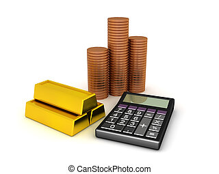 计算器, 黄金酒吧间, 提供, 3d, 硬币