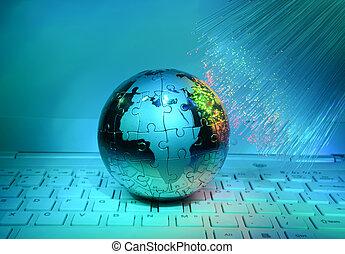 计算机数据, 概念, 带, 地球全球, 对, 光学的纤维, 背景