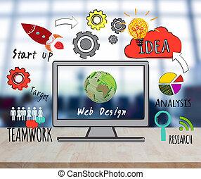 计算机, 在上, 桌面, 带, 网络设计, 网站, 主页, 想法, 编写程序, 概念