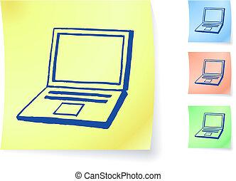 计算机, 粘性, hand-drawn, 笔记本电脑, 注意到