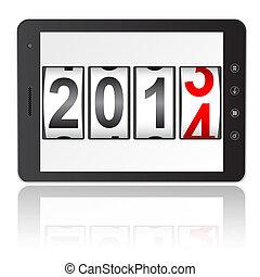 计算机, illustration., 牌子个人电脑, 计数器, 隔离, 新, 背景。, 矢量, 年, 2014, 白色