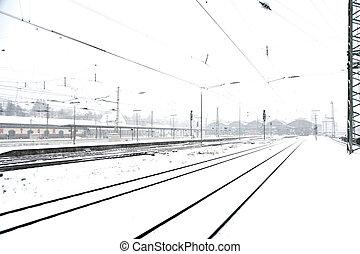 训练, 在中, 冬季, 在轨道上, 在中, 雪慌张