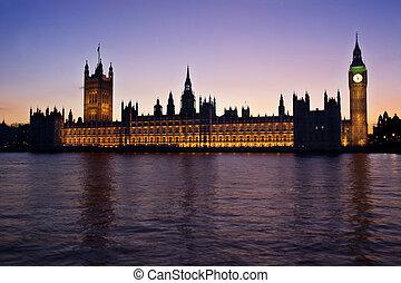 议会的房屋, 在, 日落