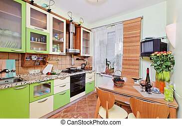 许多, 器具, 窗口, 绿色, 内部, 厨房