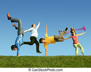 许多, 跳跃, 人们, 在草上, 拼贴艺术