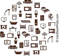 设备, 家, 环绕, 图标