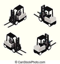 设备, 装载, truck., 可靠, 重的职责, 铲车