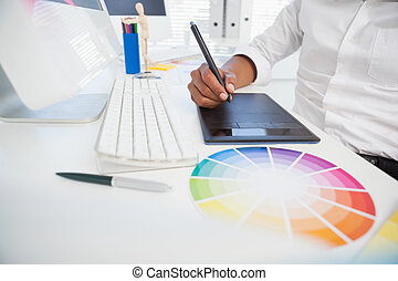 设计者, 在书桌工作, 使用, digitizer