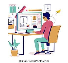 设计者, 套间, 矢量, 家具, 描述, 等容线, 家具, 建立